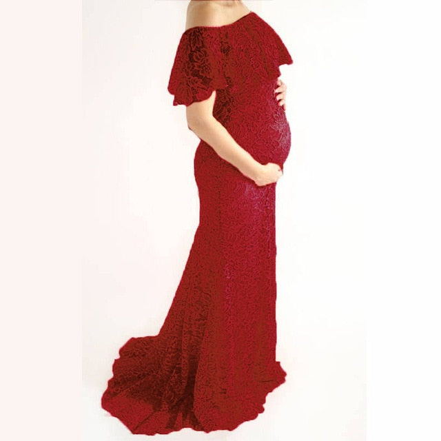 Lace Shoulderless Tailed Maternity Dresses