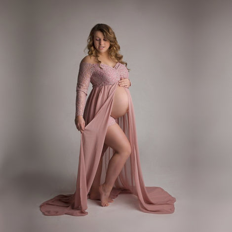 Dusty Pink Pregnant Photo Lace Dress Maternity Photography Props Long Dress Full Sleeve Maxi Gown