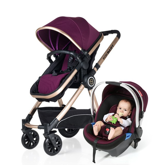 Baby Stroller 3 In 1 High Landscape Carriages With Car Seat