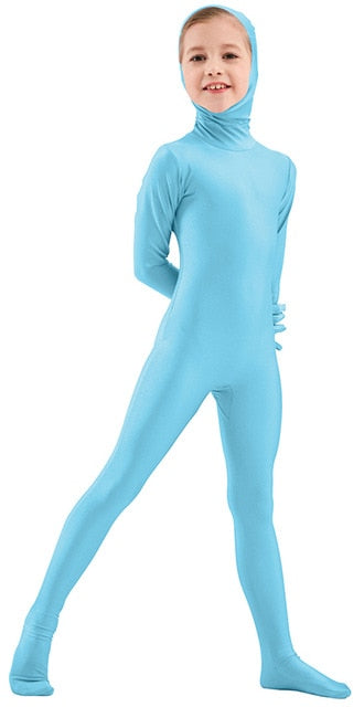 Halloween Costume Face Open Zentai Suits One Piece Tights Full Body Spandex Girls Boys