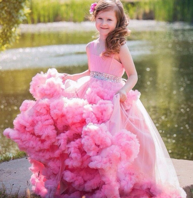 Pink Flower Girl Dresses For Weddings Ball Gown V neck Tulle Ruffles Crystals Long First Communion Dresses For Little Girls