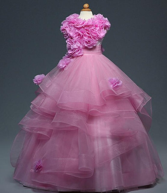 Fuchsia Flower Girl Dresses For Weddings Ball Gown Cap Sleeves Organza Baby Long First Communion Dresses For Little Girls