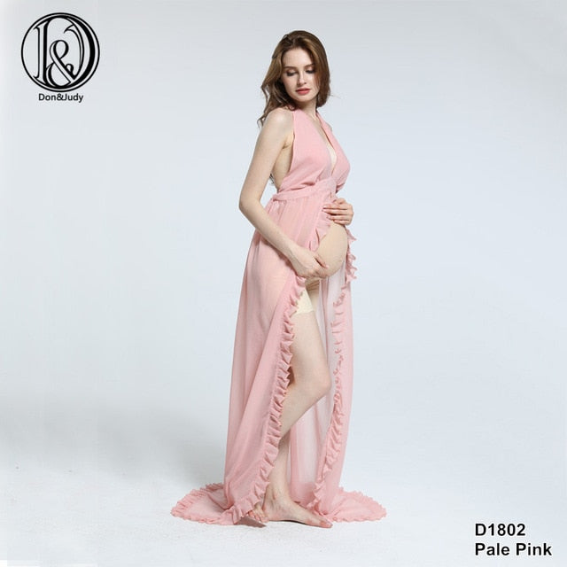 Chiffon Sexy Maternity Dress Photo Shoot Maxi Maternity Gown Split Front Maternity Photography Props Pregnancy Clothes Plus Size