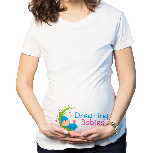 Christmas Maternity Clothing Tees Tops Pregnant Maternity T Shirts Short Sleeve