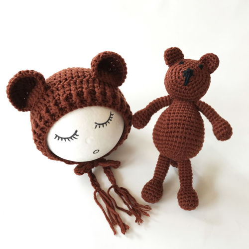 Cute Newborn Baby Girls Boys Knit Crochet Bear Hat Cap