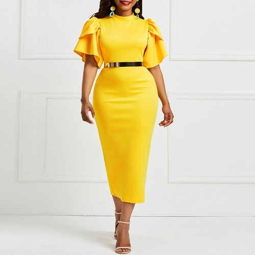 Yellow Office Ladies Short Sleeve Bodycon Tunic Women Ruflles Work Wear Female Evening Party Midi Pencil Dress