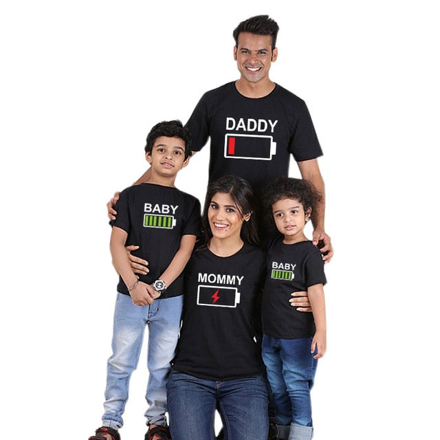 Mom Dad Baby Parent-Child T-shirt Family Matching Clothes Adorable Casual Tops
