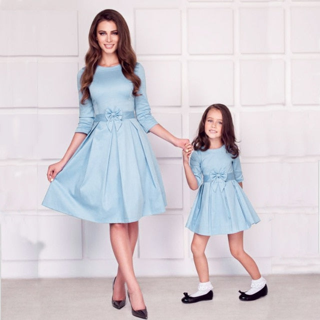 Mommy and Daughter Elegant Party Evening Dress Matching Outfits