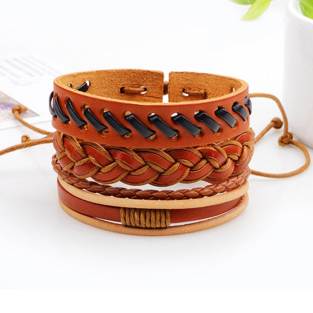 4pcs/set Punk Genuine Leather Alloy PU Hemp Rope Handmade Adjustable Braided Customized Men Jewelry Women Bracelets