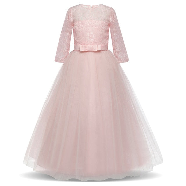 Children Wedding Dress Girls First Holy Communion Formal Long Gown Appliques Lace Princess Party Prom Dresses for Girls 6 14yrs