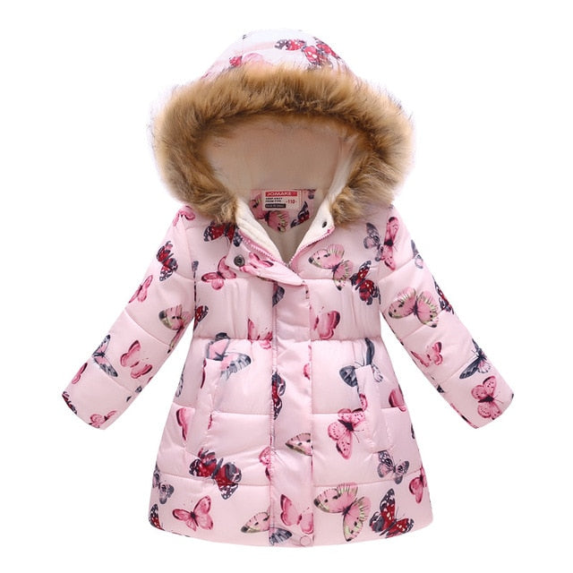 BOTEZAI Baby Girl Jacket Autumn Winter Fur Collar Hooded Down Jacket Children's Cartoon Coat printing Kids Clohting Jacket