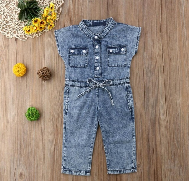 Jeans Jumpsuit Kids Toddler Baby Girl Children Sleeveless Denim Romper