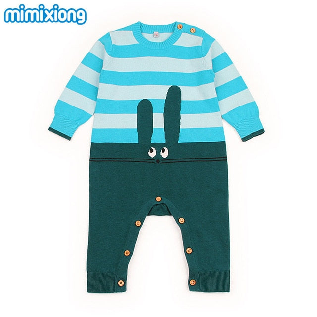 Baby Girls Rompers 3D Rabbit Knitted Toddler Boys Jumpsuits Long Sleeve