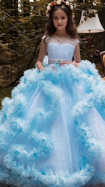 Cloud Elegant Dresses For Weddings Flower Girl, Kids Pageant Ball Gowns Feathers First Communion Dresses