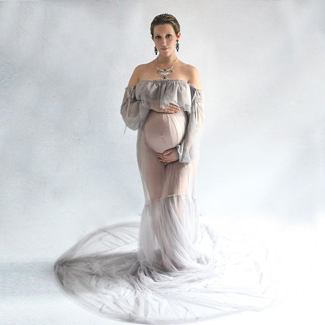 Maternity Photography Props Maxi Pregnancy Gown Mesh Dress Fancy Shooting Photo Summer Pregnant Dress