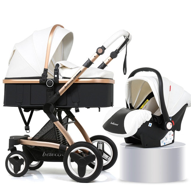 Luxury Baby Stroller 3 in 1 Carrycot Seat With Car Seat Baby Carriage