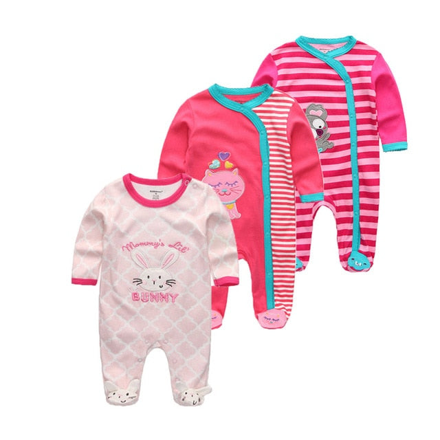 3 PCS/lot newbron winter Baby Rompers Long Sleeve set cotton baby junmpsuit