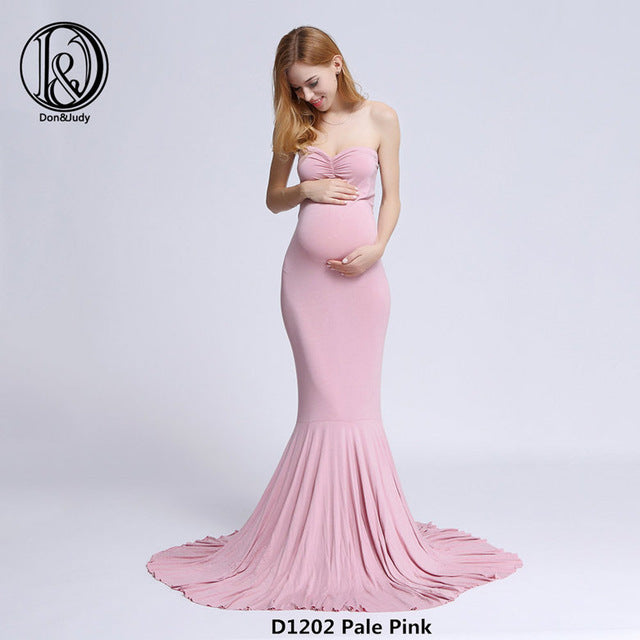 D&J Cotton Maternity Dress Maxi Long Maternity Gown Dresses Cloth for Pregnant Women MATERNITY PHOTOGRAPHY PROP BABY SHOWER GIFT