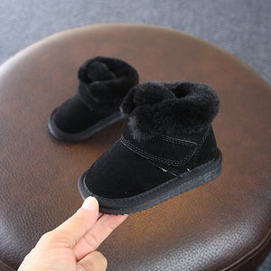 Claladoudou 11.5-13.5CM Baby Booties PU/Genuine Leather Plush Warm Winter Shoes Thicker Toddler Girls Shoes Black Infant Sneaker