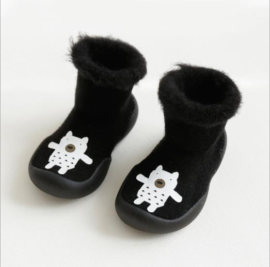 baby boys girls walker home slippers winter warm sock shoe with rubber soles - Free + Shipping