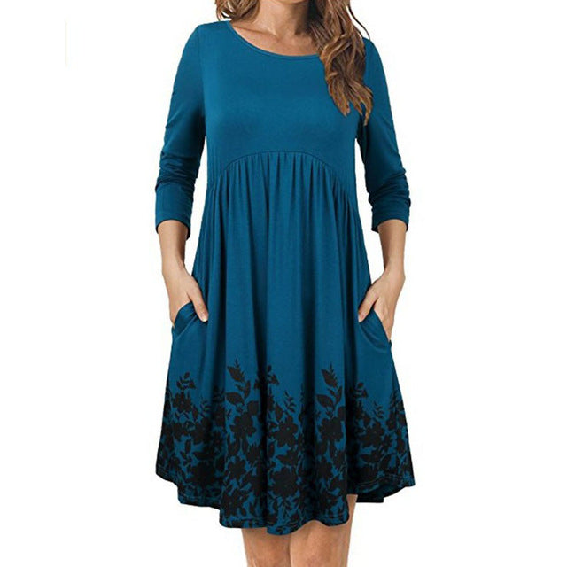 Long Sleeve Maternity Dress O-neck Print Gravidas Vestidos