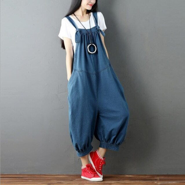 Wide Leg Jeans Jumpsuit Women Vintage Denim Overalls For Women Oversize Loose  Suspender Jumpsuits Ladies