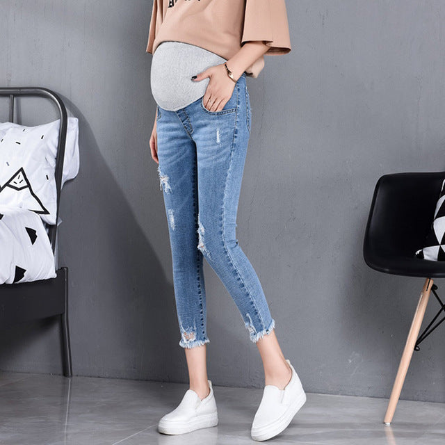 7/10 Length Fashion Maternity Jeans High Waist Belly Skinny Pencil Pants for Pregnant Women