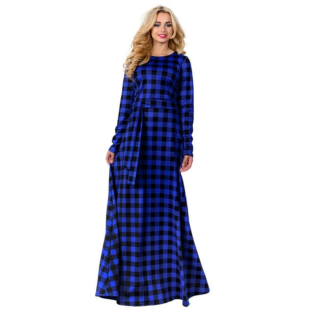 New European and American Print Plaid Long Sleeved Maternity Dress