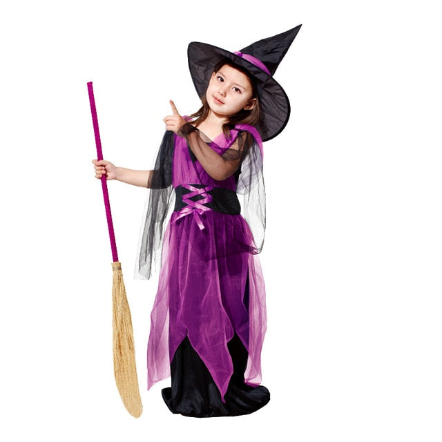 Halloween costume for Children witch hat Girl fancy dress