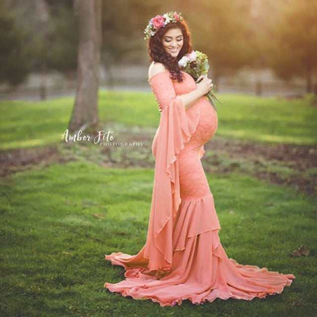 Chiffon Lace Fishtail Maternity And Pregnancy Dress For Photo Shoot Maxi