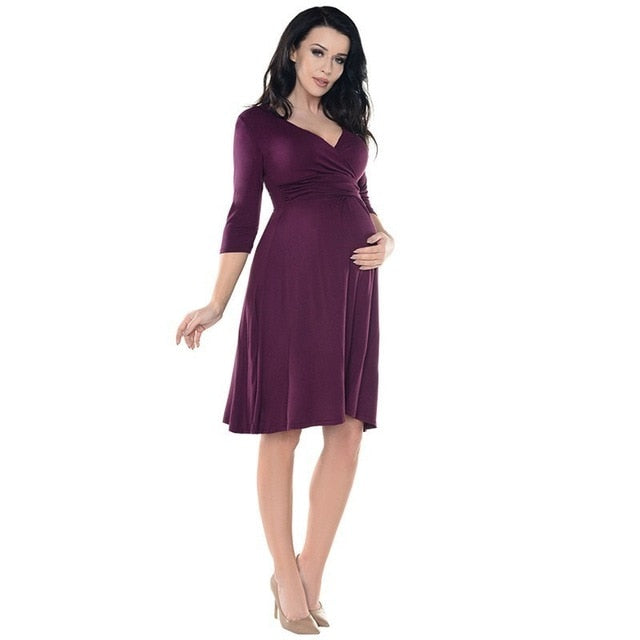 Pregnant Women Solid Color 3/4 Sleeve V Neck Formal Dress Maternity Dresses For Baby Showers