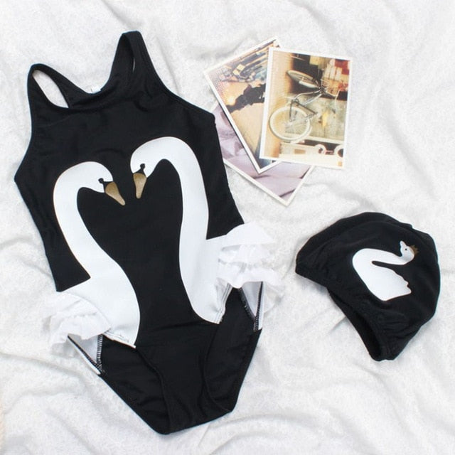 Girls Swimwear Cute Kids Swimsuit with Swimming Cap Swan Flamingo 2019 baby girl bathing suit One Pieces Swim Wear For Children