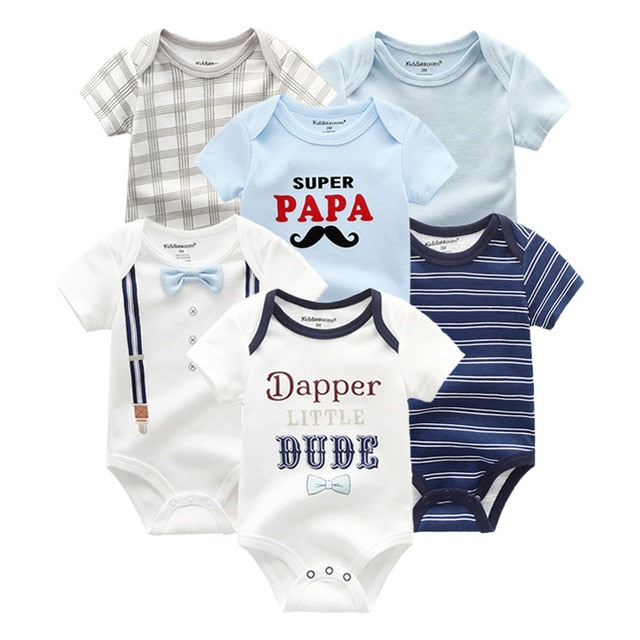 6 PCS/lot baby bodysuits short sleevele baby clothes O neck 0 12M baby Jumpsuit 100%Cotton