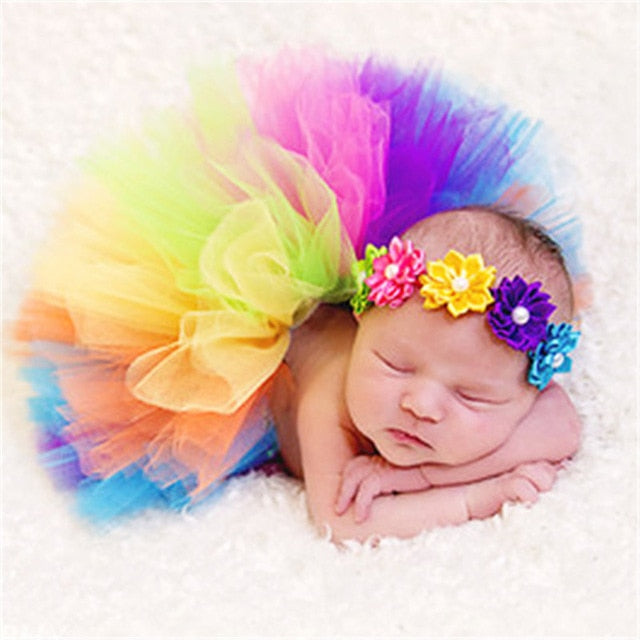 Newborn Princess Baby Tutu Skirt Headband Baby Prop Costume