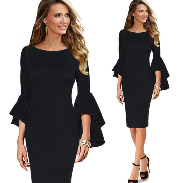 Elegant Long Flare Bell Sleeve Fashion Vintage Pinup Formal Party Cocktail