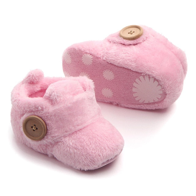 Boy Girls Toddler First Walkers Baby Shoes Round Toe Flats Soft Slippers