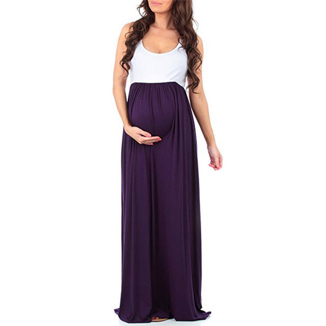 Hot Pregnant Women Chiffon Maxi Dress Ladies Maternity Gown Patchwork Photography Props Dresses Clothing