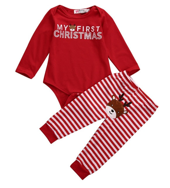 Baby Boys Girls Letter Christmas Romper Stripe Long Pants Clothes Outfits Set