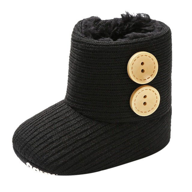 Toddler Kids Baby Girls Boys Winter Warm Solid Button Snow Boots Bootie