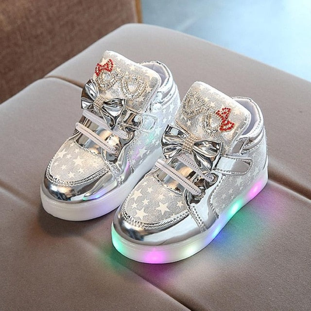 Baby Girl Shoes Colorful Light Fashion Sneakers Star Luminous
