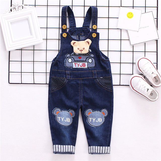 Baby Rompers baby Denim Cartoon Bear Baby Overalls for Boys Girls