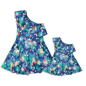 mother daughter Leaf Print One Shoulder Mini Dress