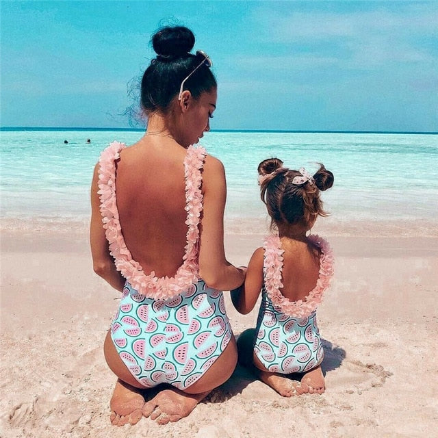 Family Matching One Piece Suits Toddler Infant Baby Girls Watermelon Swimsuit 3D Flower Swimwear Swimming Bikini