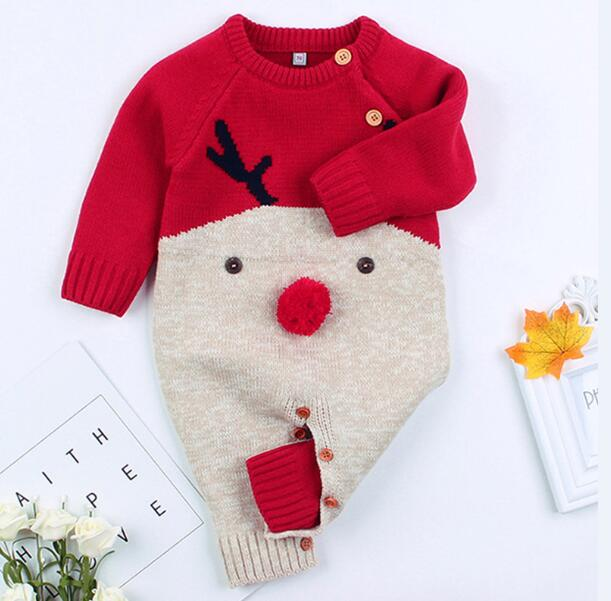 Christmas Baby Knitted Romper Autumn Winter Cartoon deer Baby Romper Boys Girls Jumpsuit Overalls