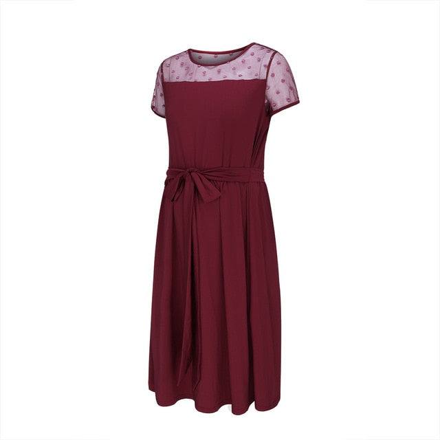 Sexy Maternity Dress Lace O Neck Pure Color Lace up Short Sleeve