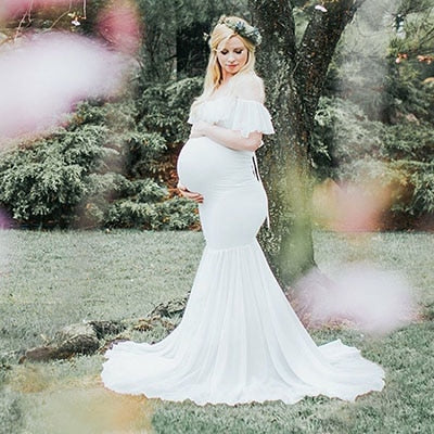 Pregnant Dresses for Photo Shoot Maternity Photography Props Pregnancy Off Shoulder Ruffles Maxi Dresses Gown Maternity Clothes
