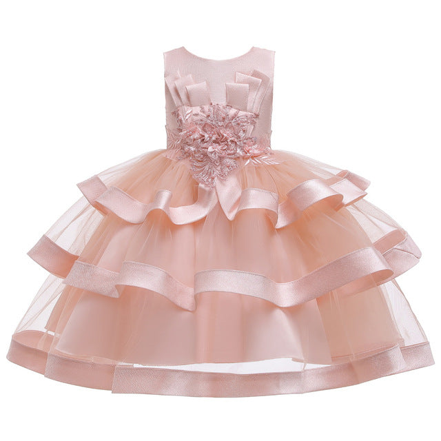 Flower Kids Dress for Girls Lace Cake Tutu Party Princess Dress 2 4 6 7 8 10 Yrs Birthday Party Event Prom Dress