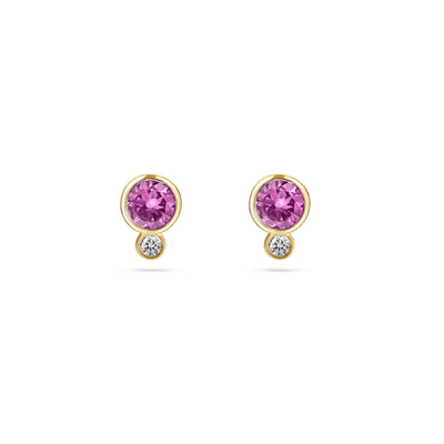 Mini Pink Sapphire & Diamond Earrings