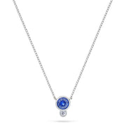 Annie James jewelry bezel set blue sapphire, diamond and white gold necklace, thyroid cancer awareness