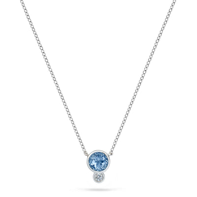 Annie James jewelry bezel set Aquamarine, diamond and white gold necklace, thyroid cancer awareness